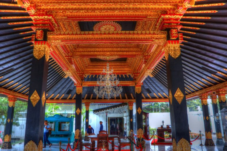 Kraton Ngayogyakarta Hadiningrat is the primary kraton of the Yogyakarta Sultanate. The sultan and the royal court has its traditional seat there.   The complex consists of a number of low-lying buildings such as audience halls, museums, and the residences of the sultan and the queen. (according to wiki). Yogyakarta Sultanate (Indonesian: Kesultanan Yogyakarta; Javanese: Kasultanan/Keraton Ngayogyakerto Hadiningrat) is a Javanese monarchy in the province of Yogyakarta, Indonesia. Here is more info on the Sultanate.  Yogyakarta (English: /?j?gj?'k?rt?/ or /?jo?gj?'k?rt?/,[1] Malay: [j?gja'karta]; also Jogja, Jogjakarta) is a city in the Yogyakarta Special Region, Indonesia. It is renowned as a centre of classical Javanese fine art and culture such as batik, ballet, drama, music, poetry, and puppet shows. Yogyakarta was the Indonesian capital during the Indonesian National Revolution from 1945 to 1949. More on Wiki.  Java is the world's most densely populated island (population: 136 million). It is home to 60% of Indonesia's population. Much of Indonesian history took place on Java; it was the centre of powerful Hindu-Buddhist empires, Islamic sultanates, the core of the colonial Dutch East Indies, and was at the centre of Indonesia's campaign for independence. The island dominates Indonesian social, political and economic life. More information on wikipedia.